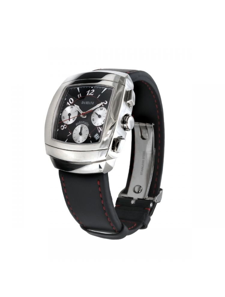 Damiani luxury watch with black belt