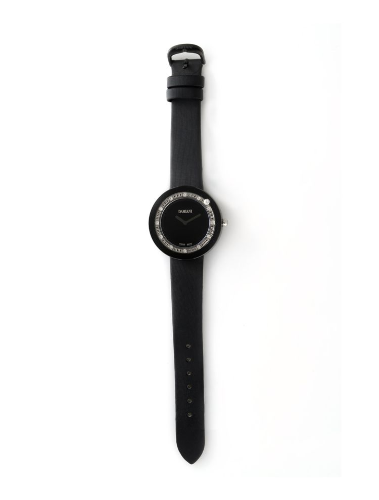 Damiani black ceramic watch with diamonds