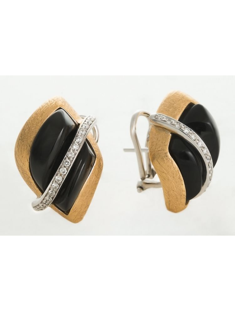 Talento Italiano white and yellow gold earrings with black onyx and diamonds