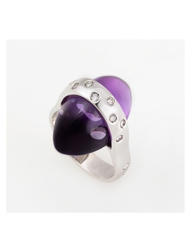 Talento Italiano white gold ring with amethyst and white diamonds