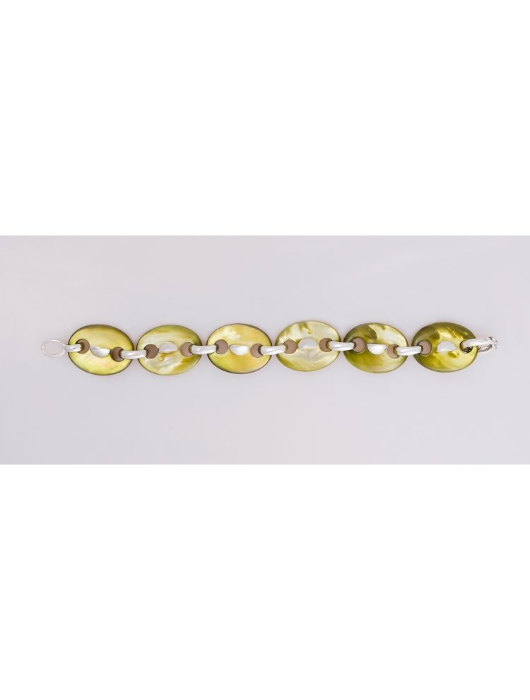 Talento Italiano white gold bracelet with green mother of pearl and diamonds