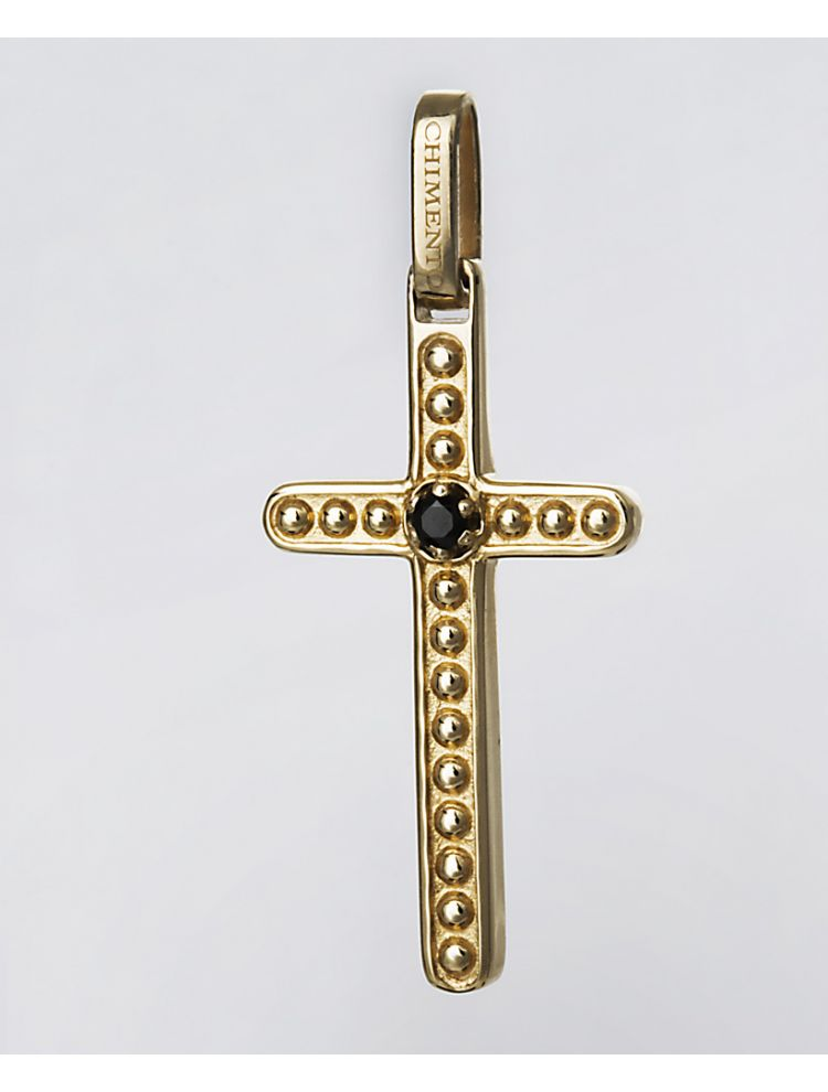Chimento yellow gold cross pendant with black diamond