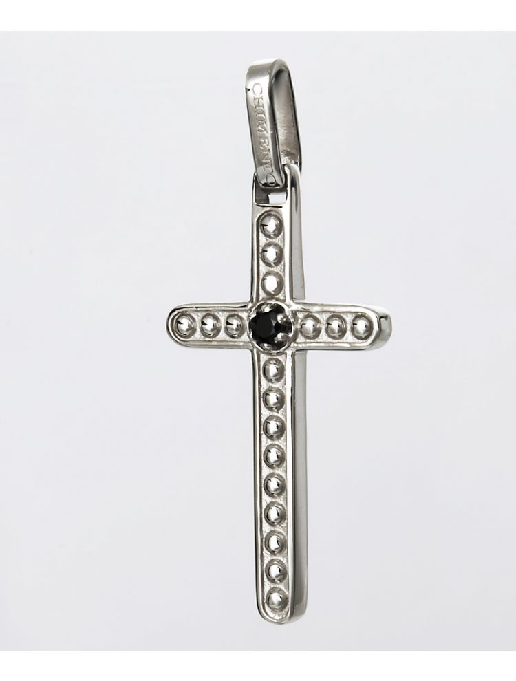 Chimento white gold cross pendant with black diamond
