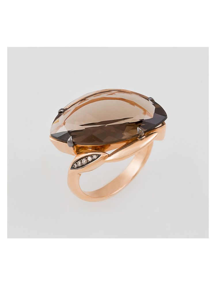 Talento Italiano pink gold ring with topaz and white diamonds