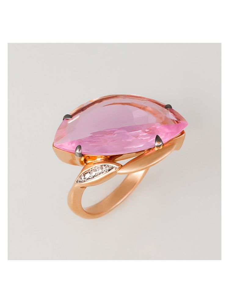 Talento Italiano pink gold ring with pink quarts and white diamonds