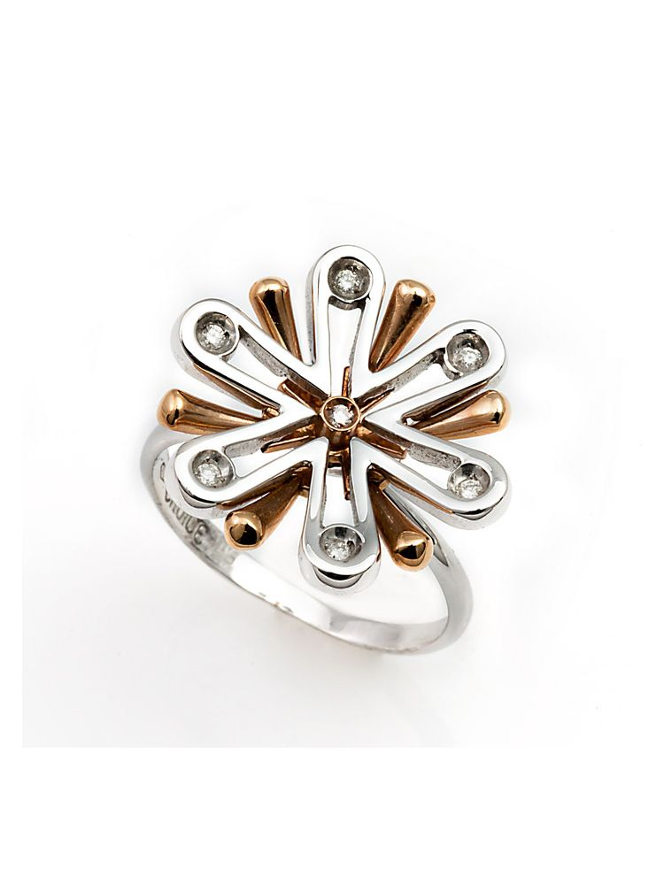 Choice white and pink gold ring with diamonds