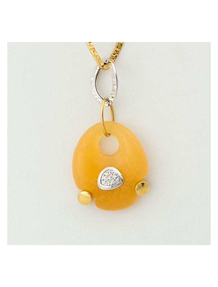 Talento Italiano white and yellow gold chain and pendant with yellow citrine and diamonds
