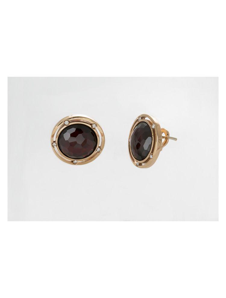 Damiani pink gold earrings with garnet and diamonds