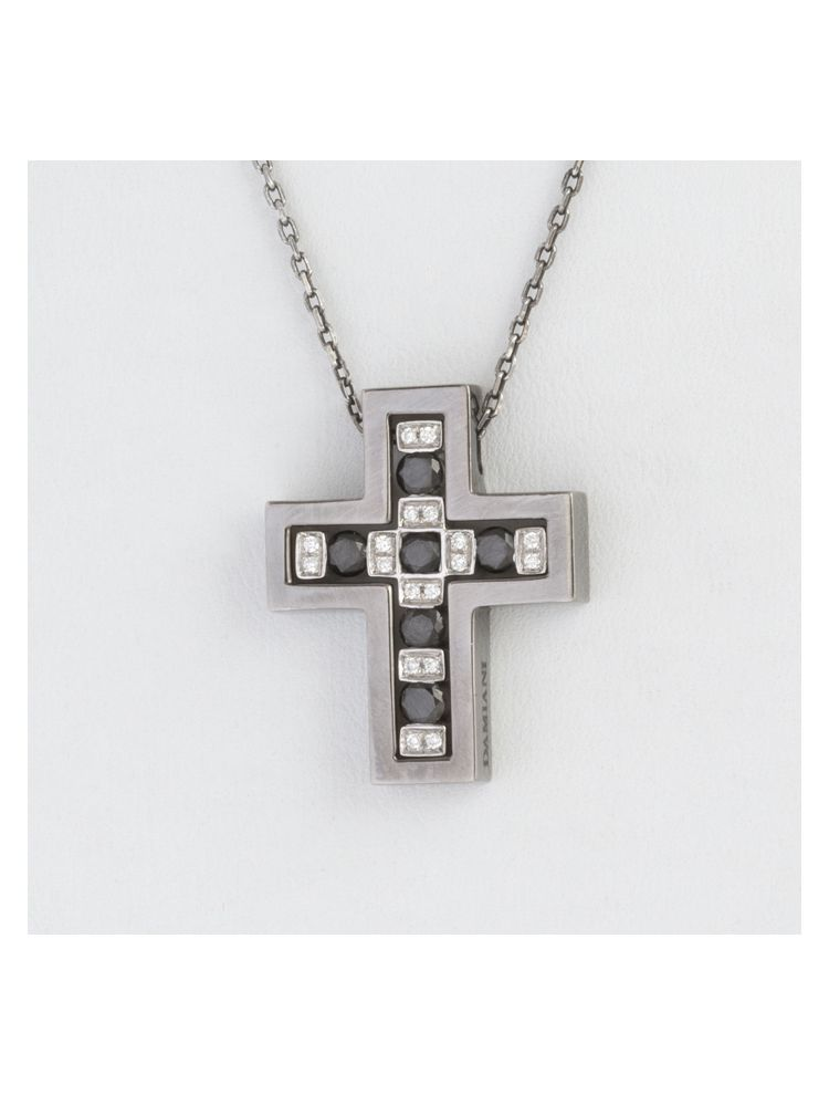 Damiani white gold chain and cross pendant with black and white diamonds