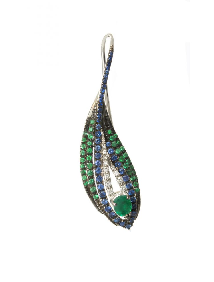 Damiani earrings with emerald and diamonds