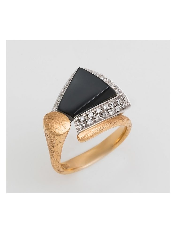 Talento Italiano yellow and white gold ring with diamonds and black onyx