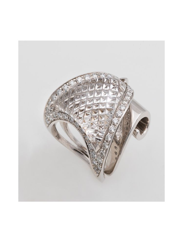 Io-si white gold ring with crystal and diamonds