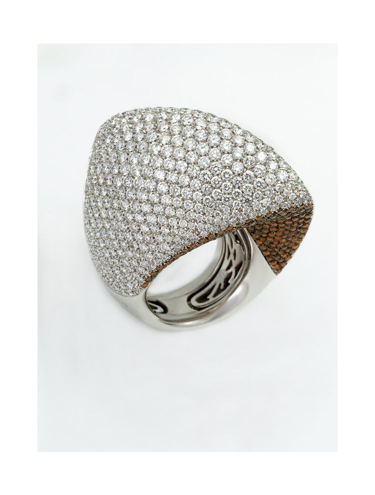 Palmiero white gold ring with diamonds