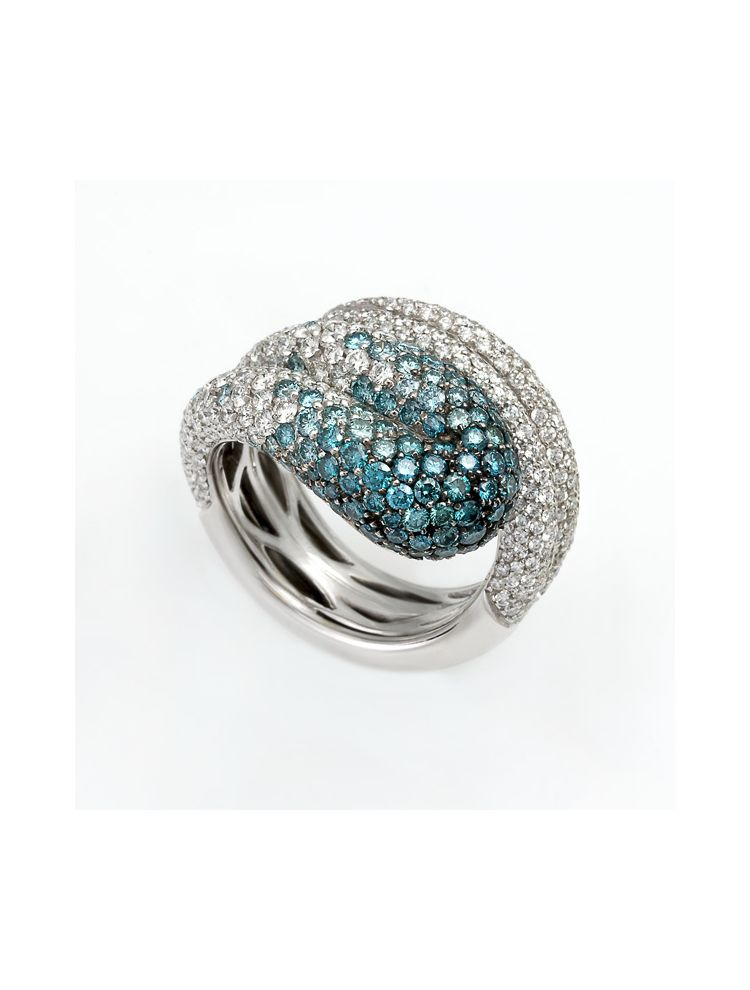 Palmiero white gold ring with white and color diamonds
