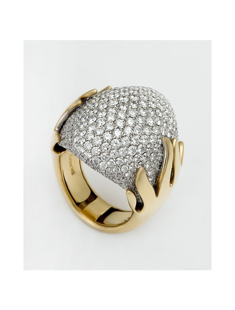 Palmiero yellow gold ring with white diamonds