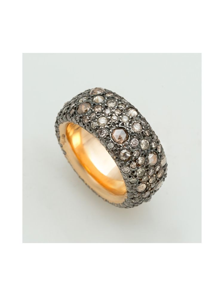 Pomellato yellow gold ring with brown diamonds