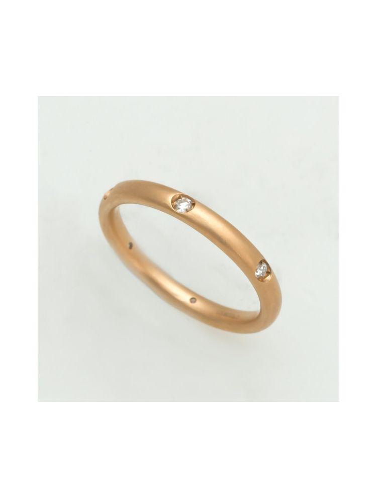 Pomellato pink gold wedding band with diamonds