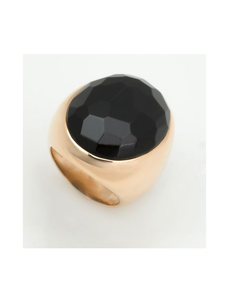 Pomellato yellow gold ring with jet