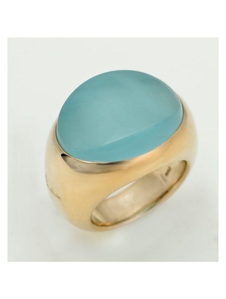 Pomellato yellow gold ring with aquamarine