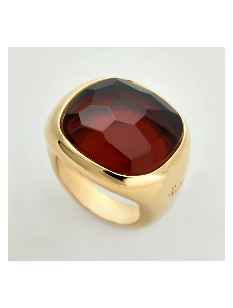 Pomellato yellow gold ring with garnet