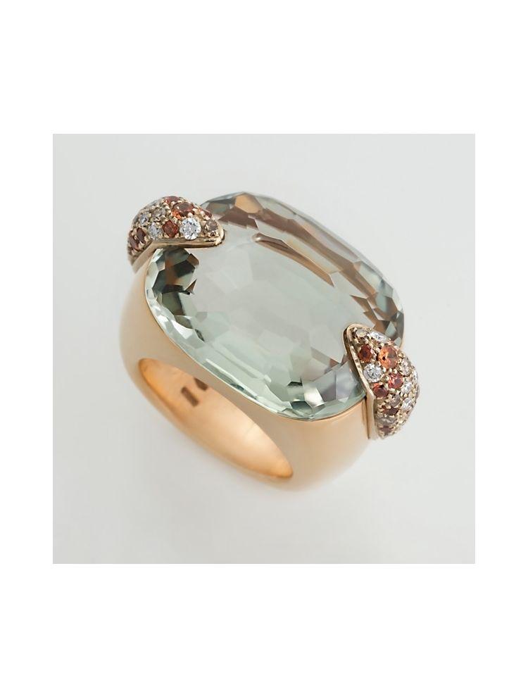 Pomellato pink gold ring with green praziolide and diamonds