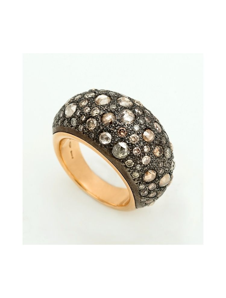 Pomellato yellow gold ring with brown diamonds Tango collection