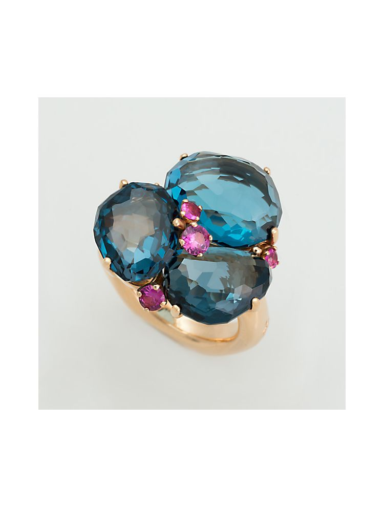 Pomellato pink gold ring with ruby and blue topaz
