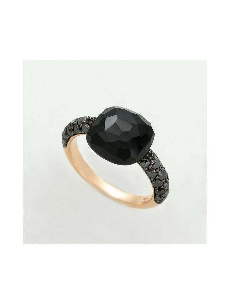 Pomellato yellow gold ring with black onyx and diamonds