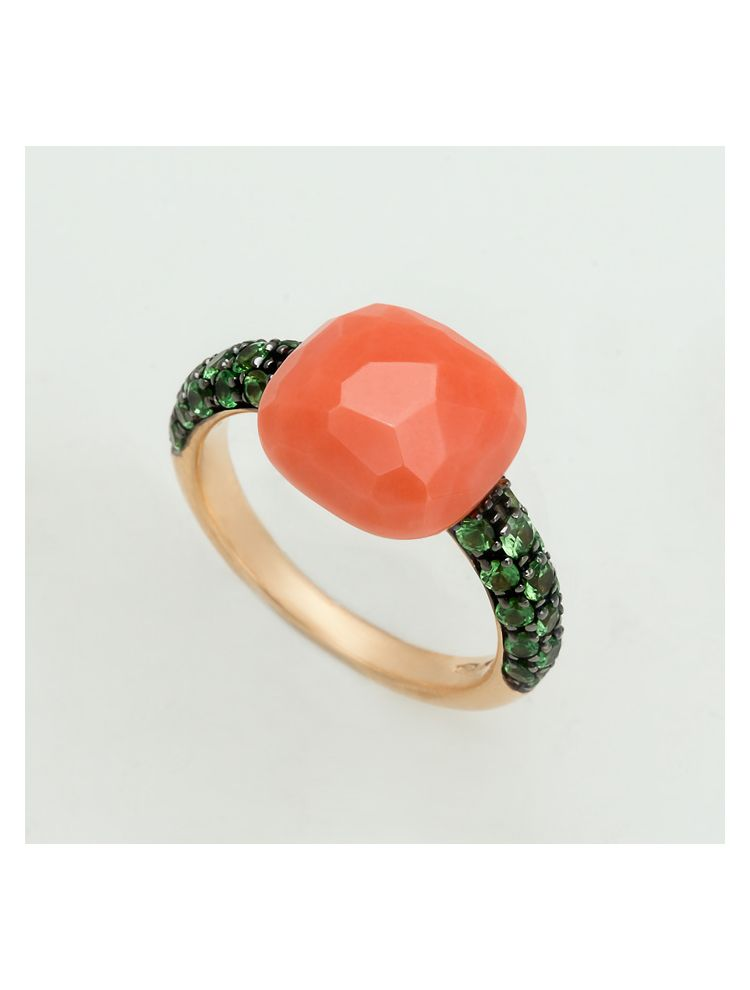 Pomellato yellow gold ring with coral and tsavorite