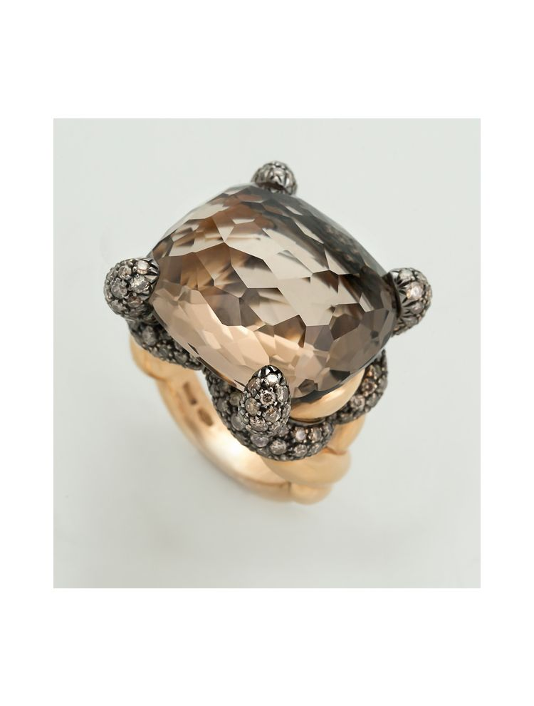 Pomellato yellow gold ring with brown diamonds and topaz