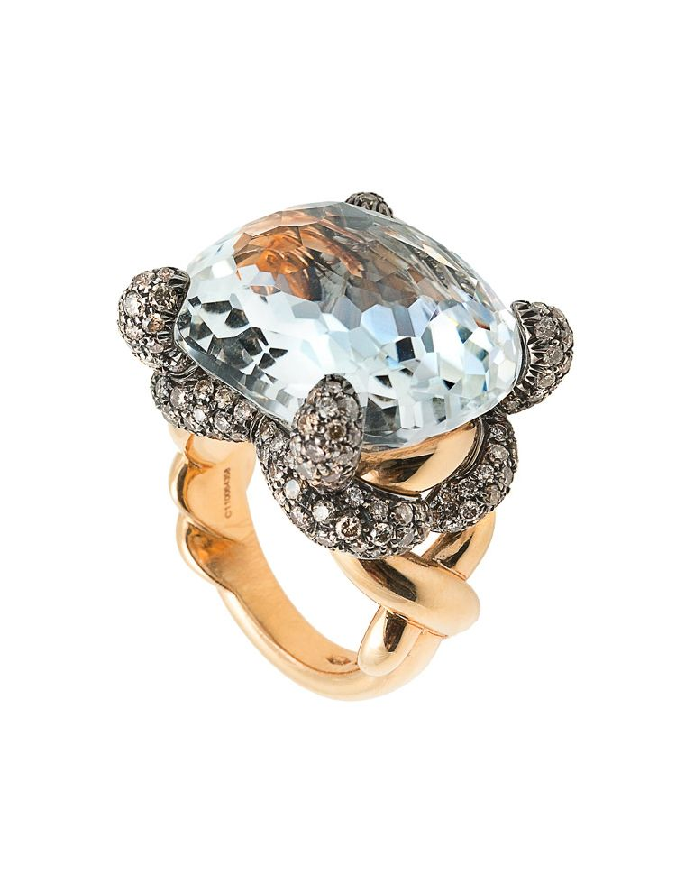 Pomellato pink gold ring with brown diamonds and topaz