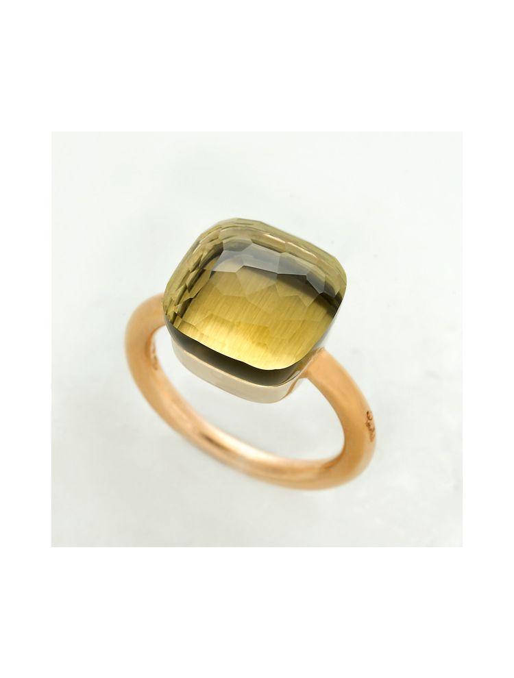 Pomellato yellow gold ring with lemon quartz