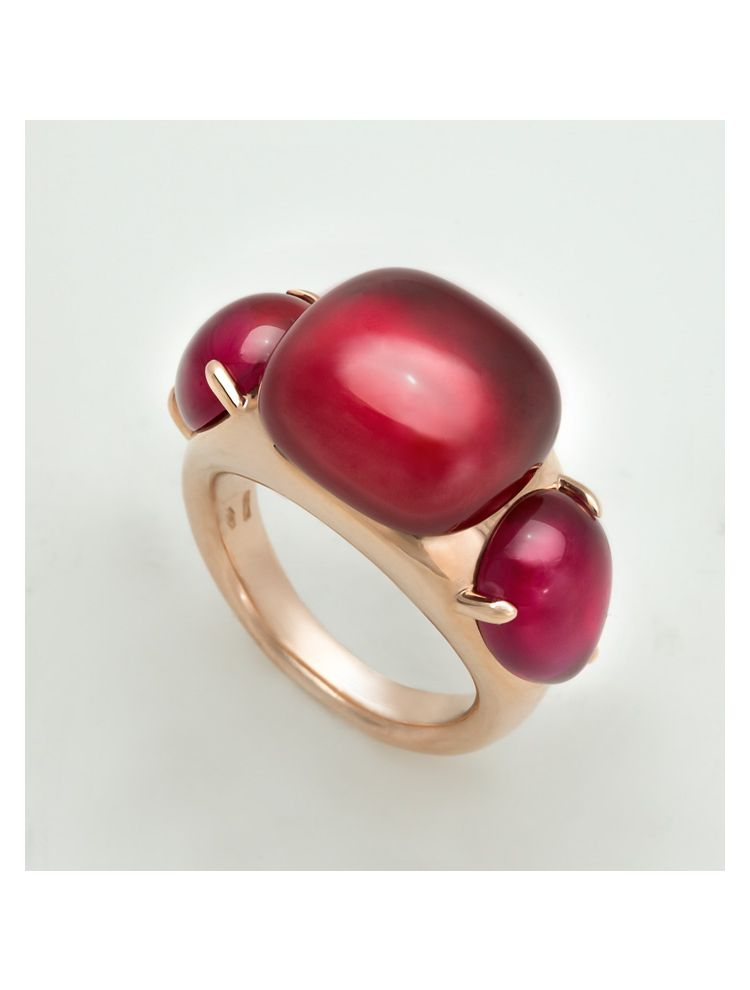 Pomellato pink gold ring with hydrothermal ruby