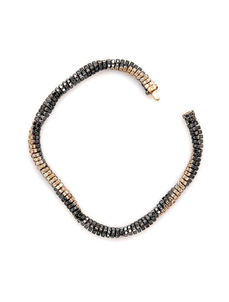 Reho white gold black rhodium bracelet with black and brown diamonds