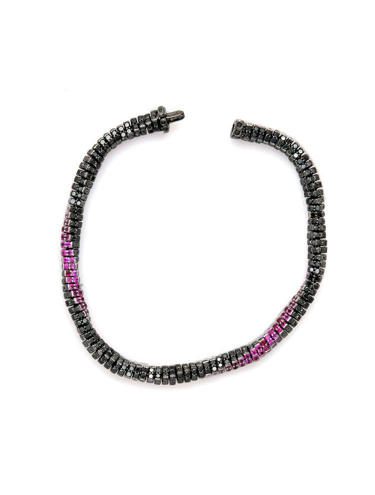 Reho white gold black rhodium bracelet with black diamonds and rubies