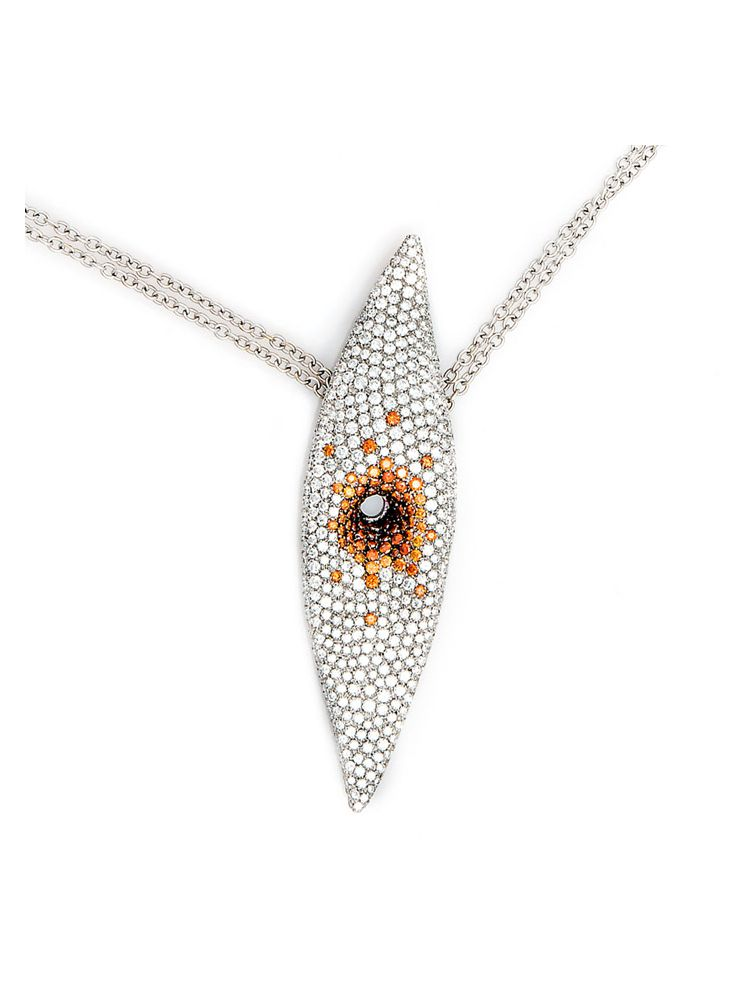 Palmiero white gold chain and pendant with white and color diamonds