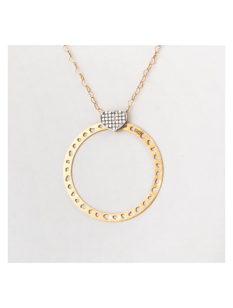 Nanis yellow and white gold necklace and circle pendant with diamonds
