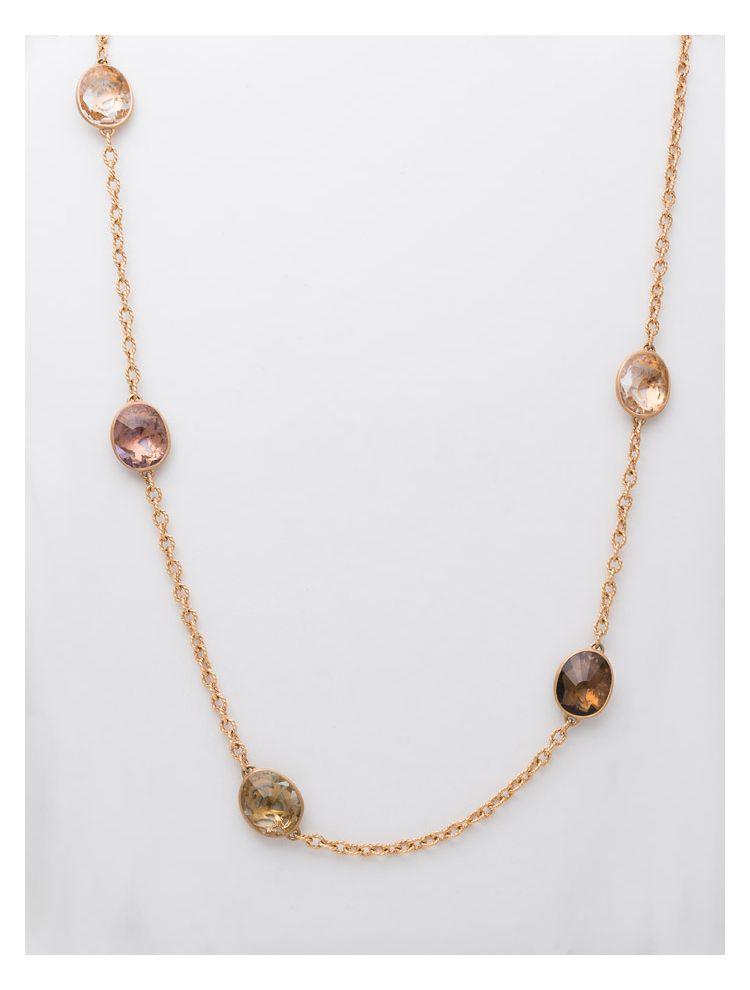 Pomellato pink gold necklace with amethyst, smoky quartz, praziolite and crystal