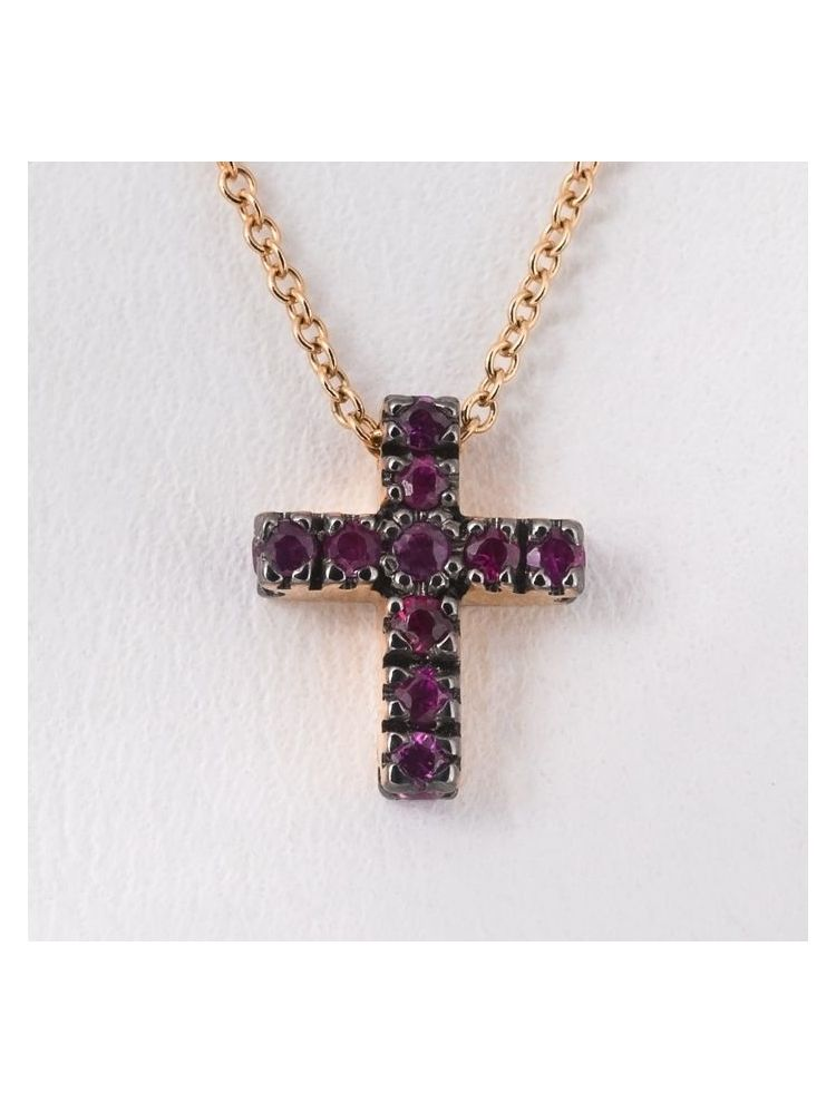 Pomellato pink gold chain and cross pendant with rubies