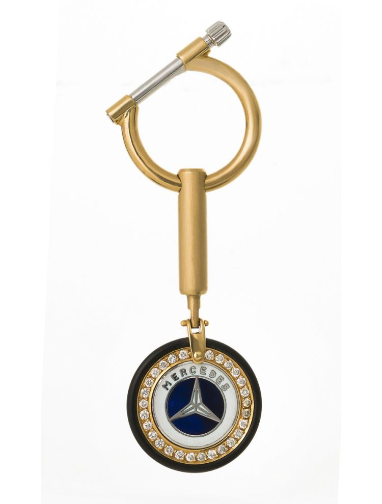 "Yessayan white and yellow gold key chain with diamonds ""Mercedes"""