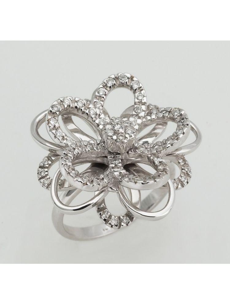 Yessayan flower shape white gold ring with diamonds