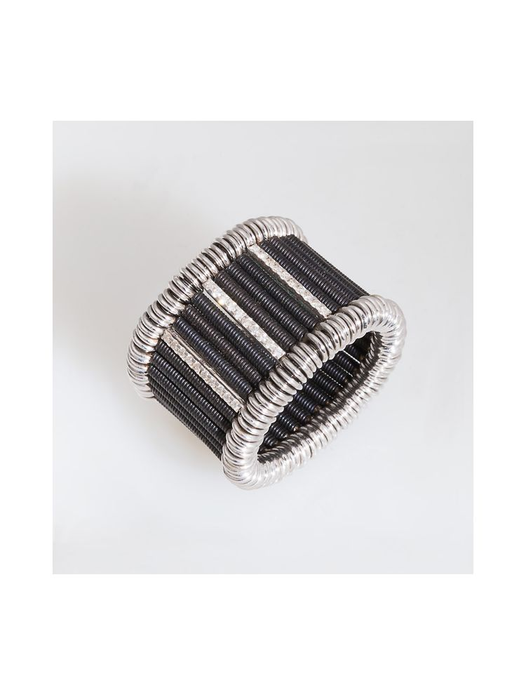 Jarretiere white gold and black rhodium elastic ring with diamonds