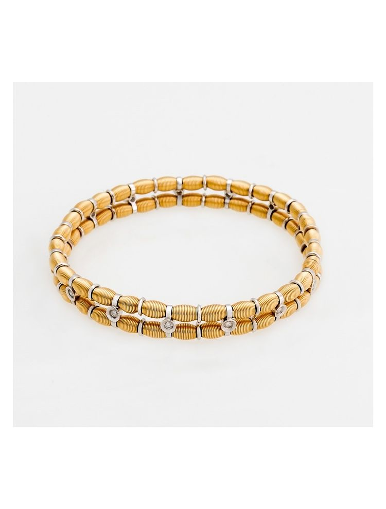 Jarretiere white and yellow gold elastic bracelet with diamonds