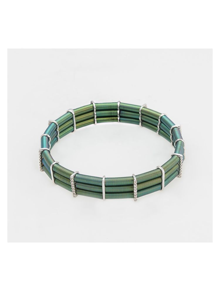 Jarretiere white and green gold elastic bracelet with diamonds