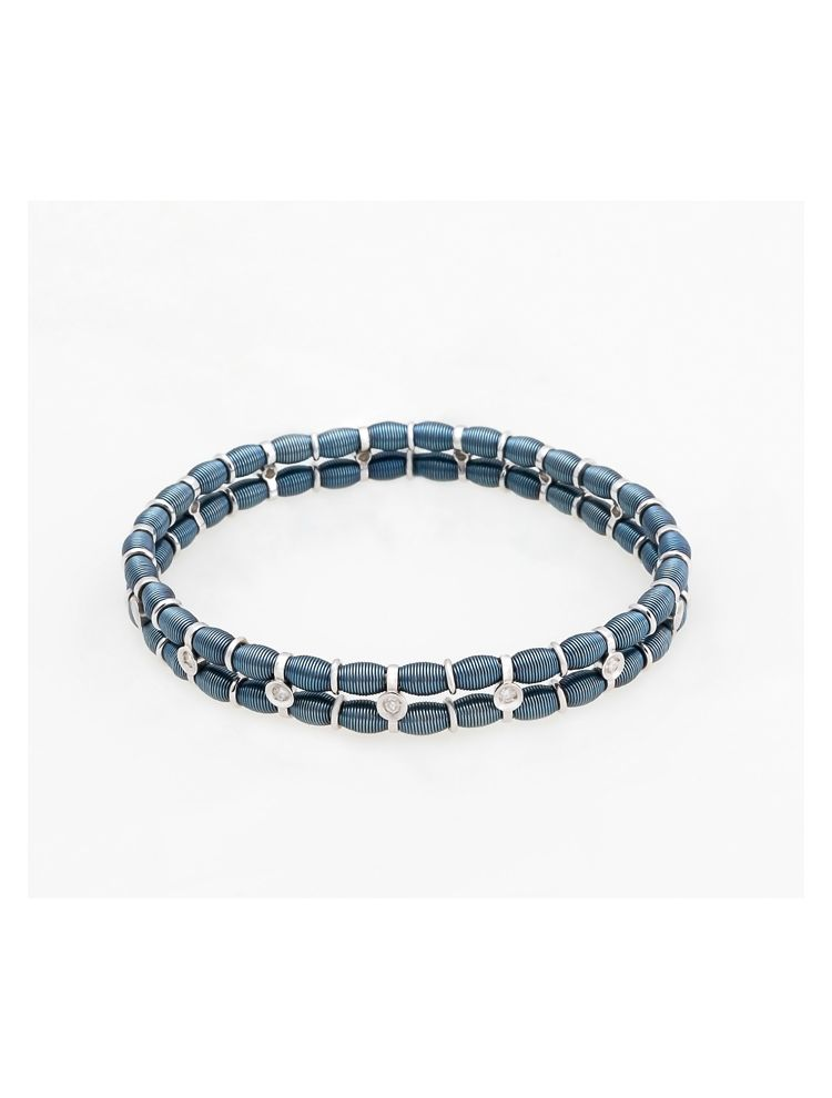Jarretiere white and blue gold elastic bracelet with diamonds