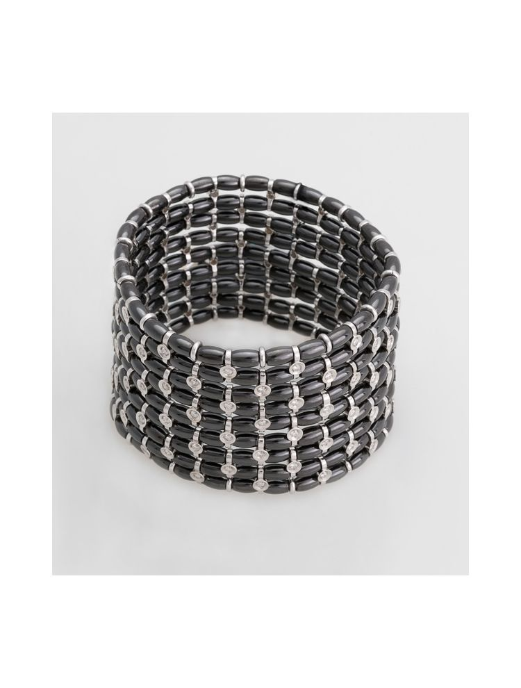 Jarretiere white gold elastic bracelet with black ceramics and diamonds