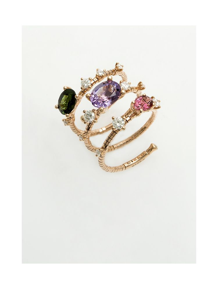 Mattia Cielo pink gold ring with tourmaline and diamonds