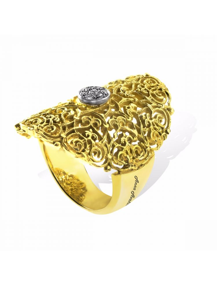 Anna Avakian yellow gold ring with white diamonds