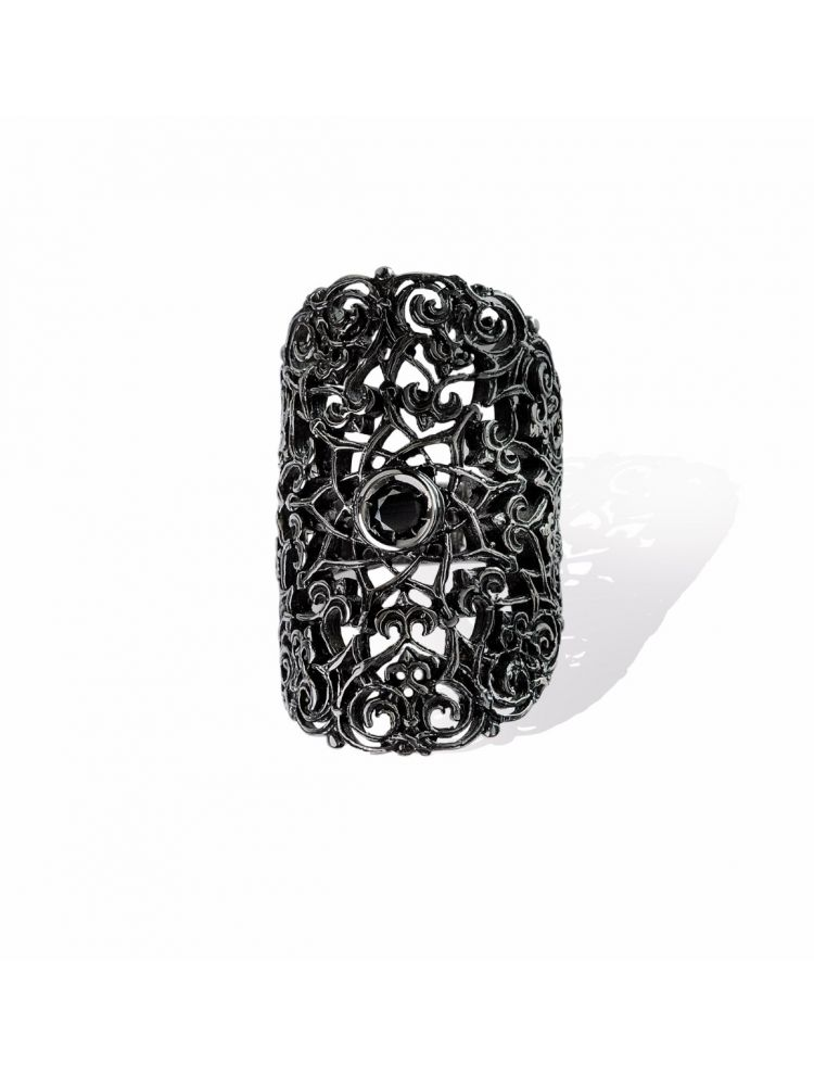 Anna Avakian black gold ring with black diamonds