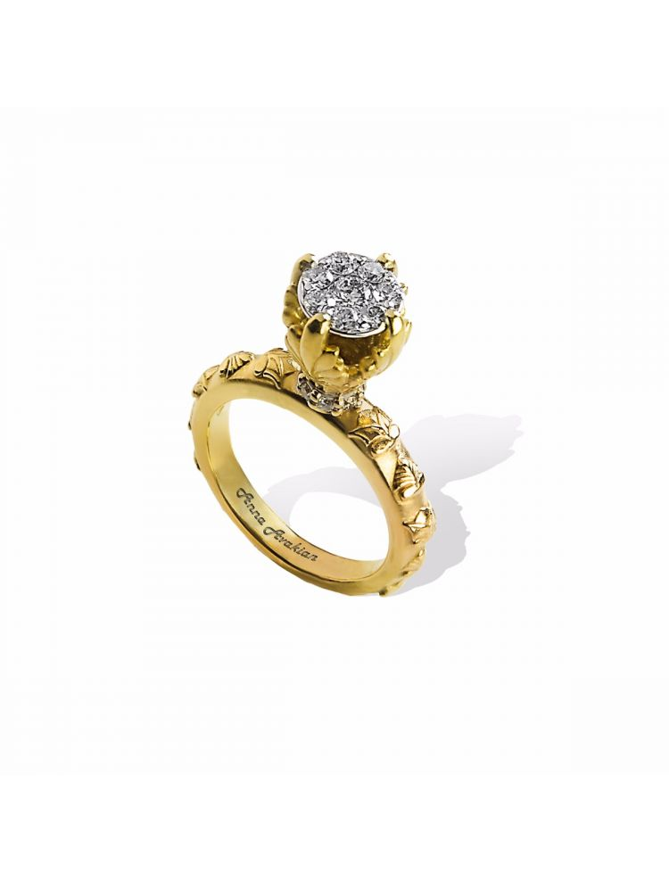 Anna Avakian gold engagement ring with diamonds